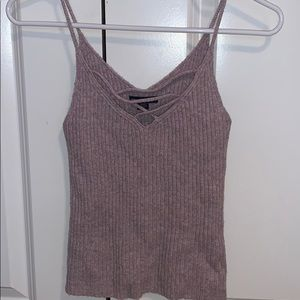 Purple Criss Cross V-Neck Tank Top